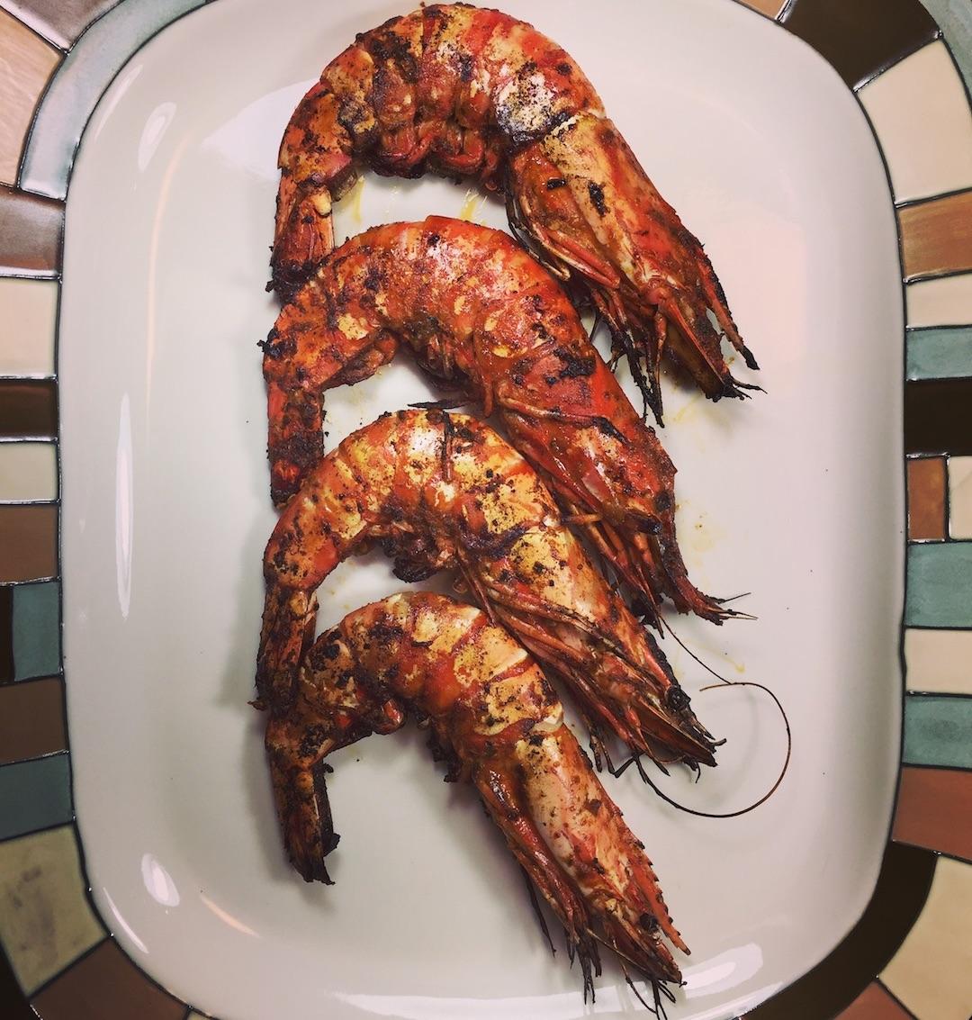 Grilled prawns, portuguese gambas mozambique, portuguese grilled shrimp