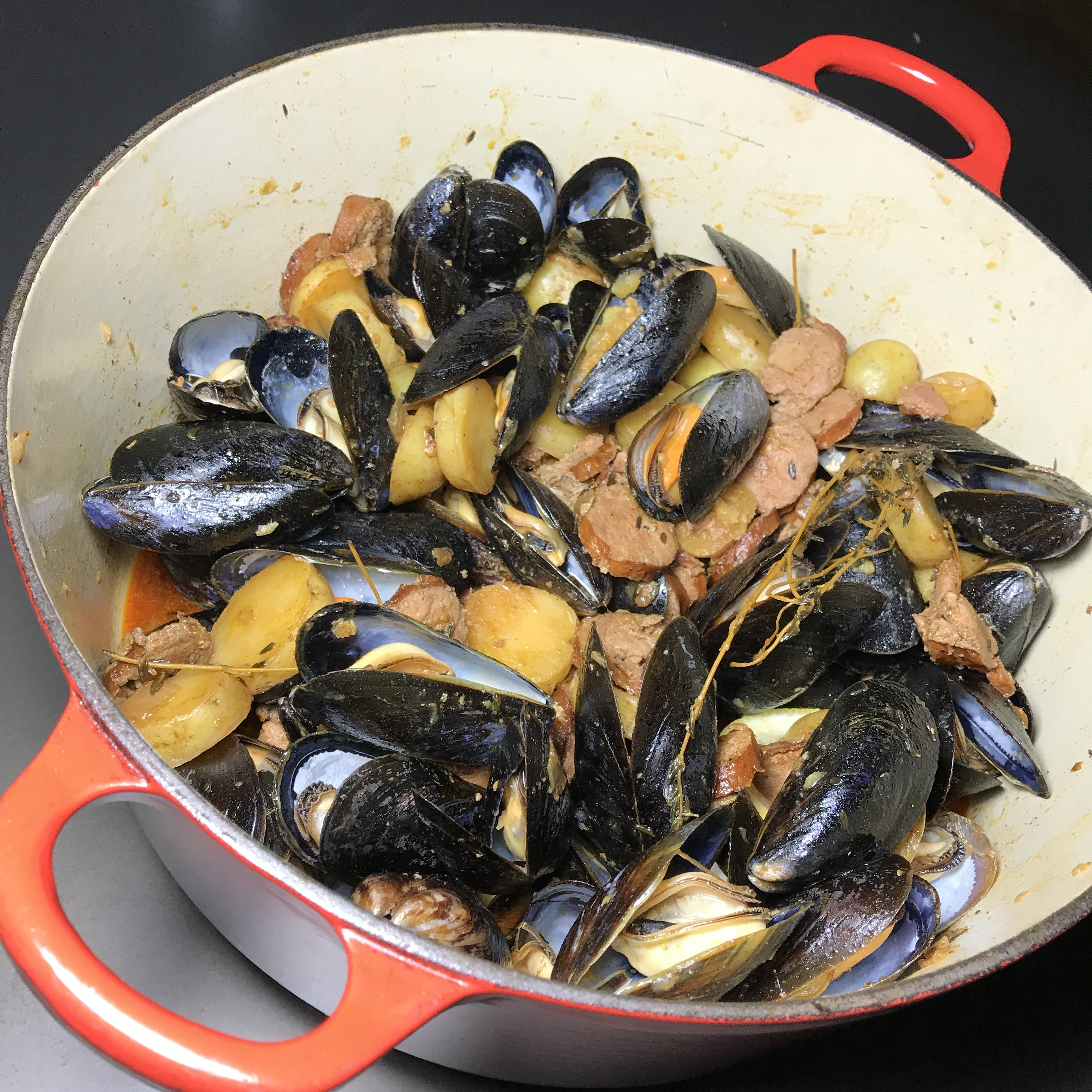 Drunken Mussels Andouille Sausage