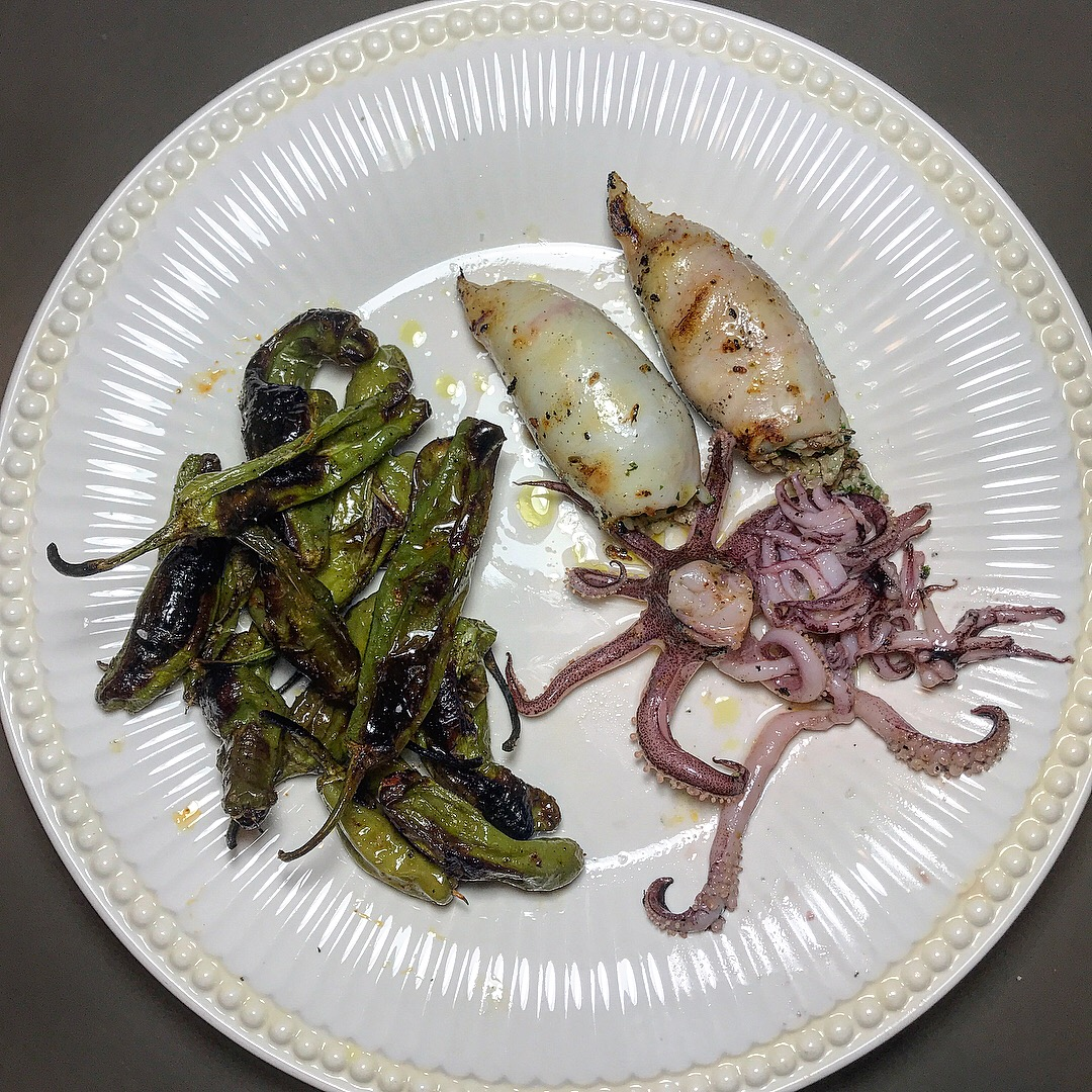 Easy Grilled Squid and Peppers